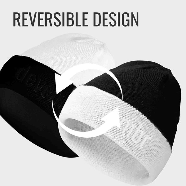 Reversible Beanie Hat (Black and White, Long Brim)