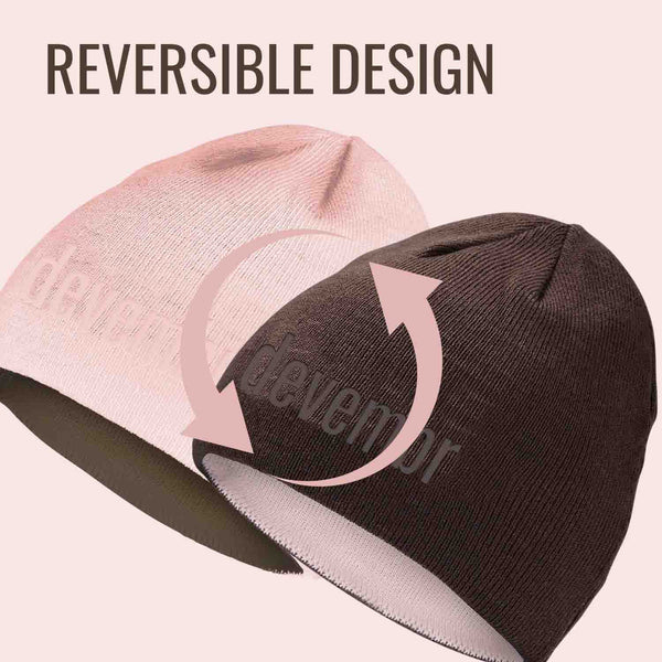 Reversible Beanie Hat (Pink and Brown, Short Brim)
