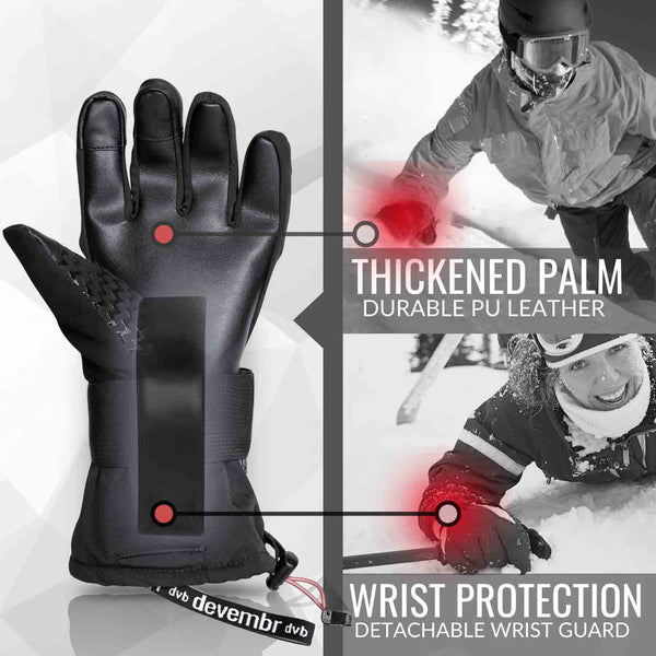 Snowboard & Ski Gloves with Wrist Guard (Black/Grey)