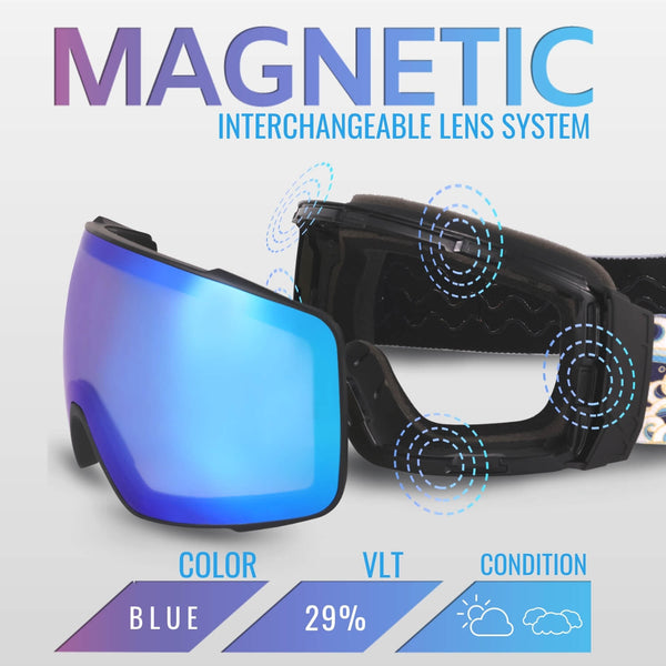 Ski & Snowboard Goggles Niseko Series (Frameless Magnetic Interchangeable Spherical Lens with Stylish Strap)