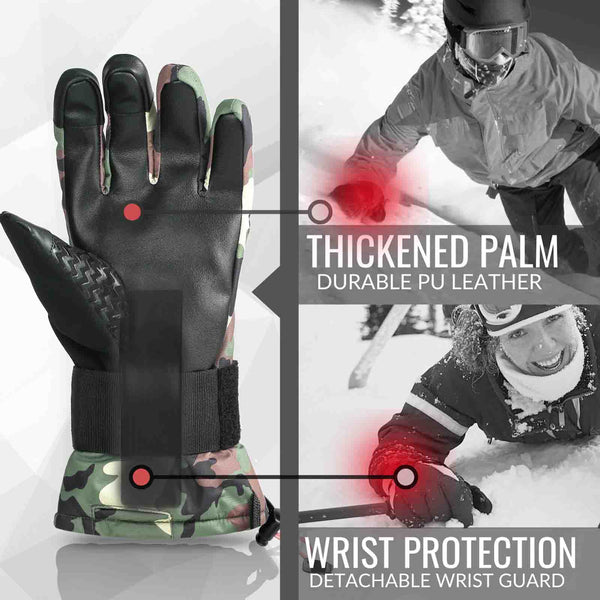 Snowboard & Ski Gloves with Wrist Guard (Camouflage)