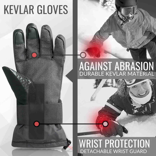 Snowboard & Ski Carving Gloves with Removable Wrist Guard, Liner and Enhanced Palm