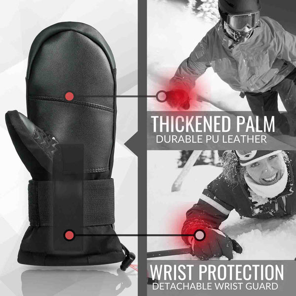 Snowboard & Ski Mittens with Removable Wrist Guard