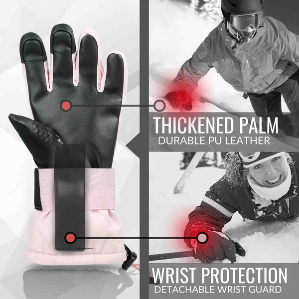 Snowboard & Ski Gloves with Wrist Guard (Pink)