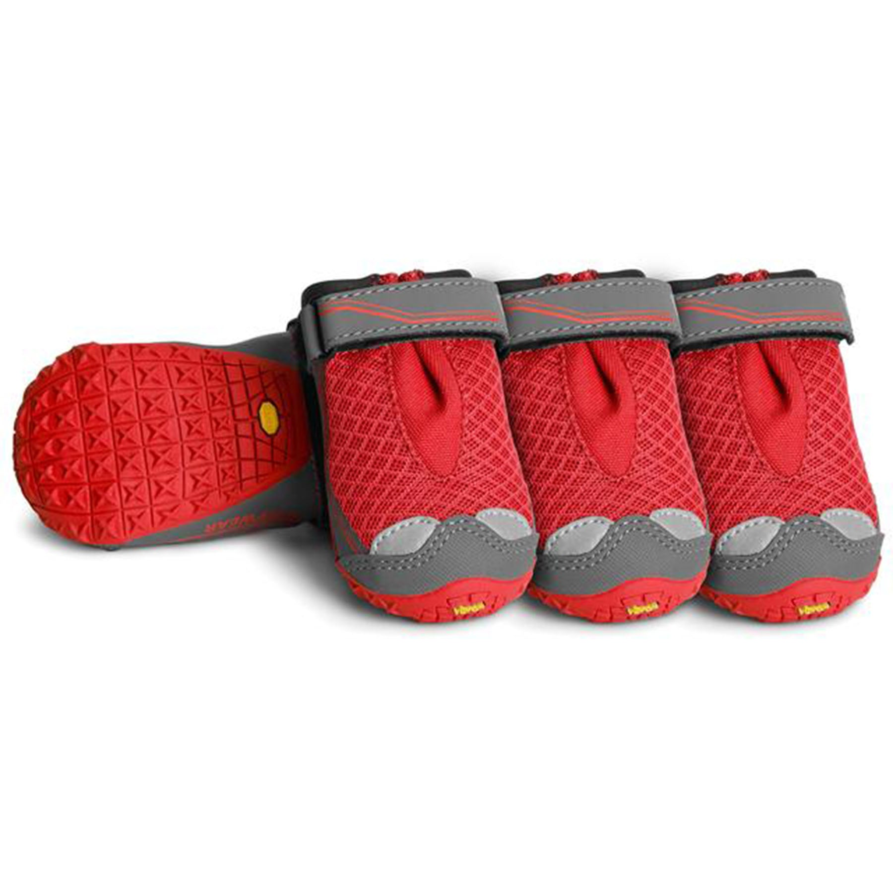 A photo of the Ruffwear Grip Trex Dog boots in red