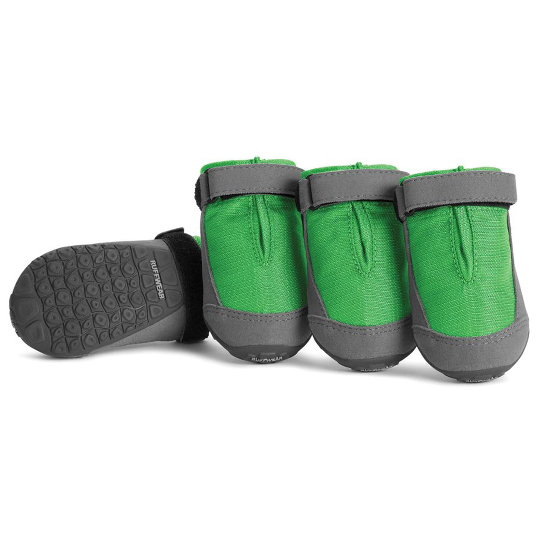 a photo of the ruffwear summit trex dog boot, in green. all four are in the photo
