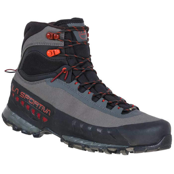 Men's TxS hiking boot in the color Carbon/ Chili. Shows synthetic mesh upper (Which is GTX)