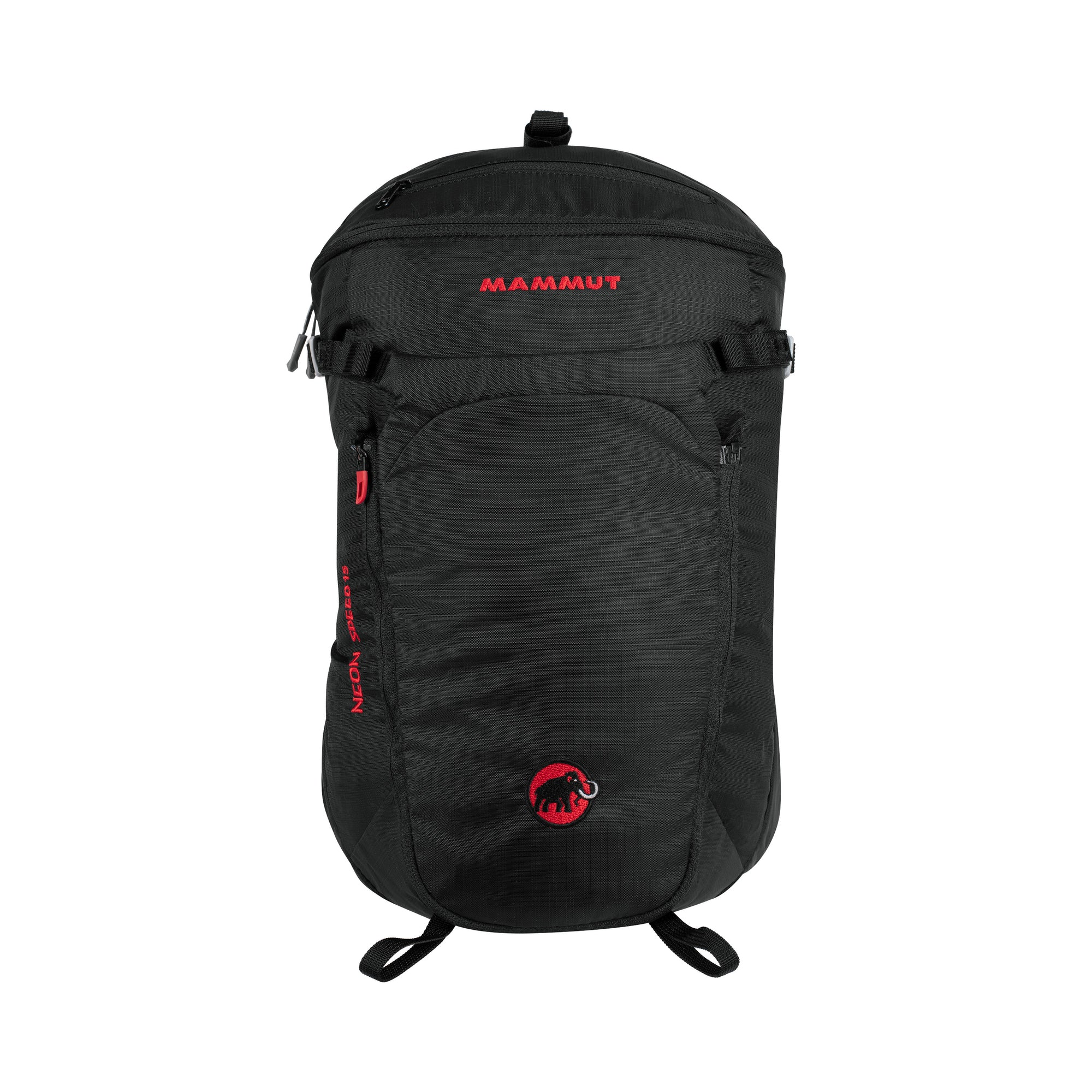 view of the back of the neon speed pack, in black
