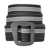 the millenium belt coiled with a black, white, and grey pattern running the length