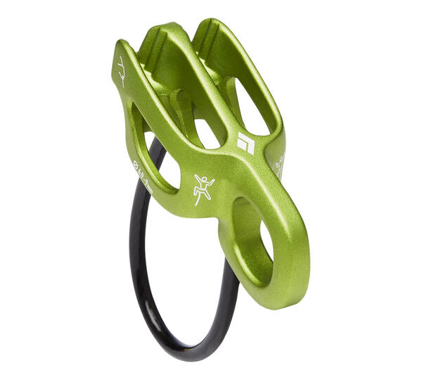 GREEN RAPPEL DEVICE MADE FOR THINNER ROPES AND EXTRA LOOP FOR TOP BELAYING CAPABILITY