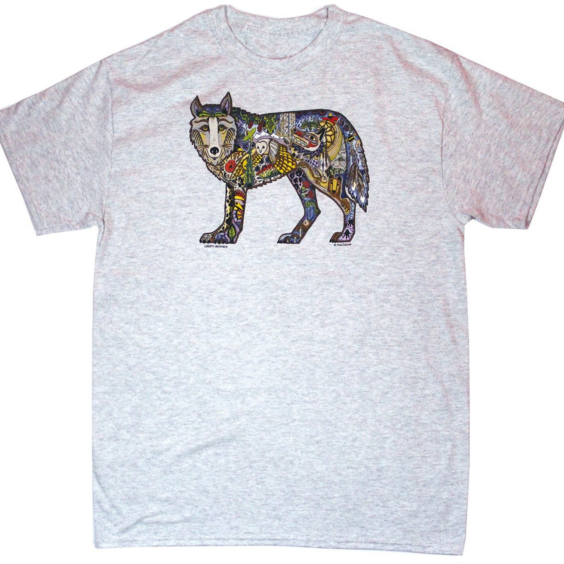 wolf print t shirt showing the entire shirt
