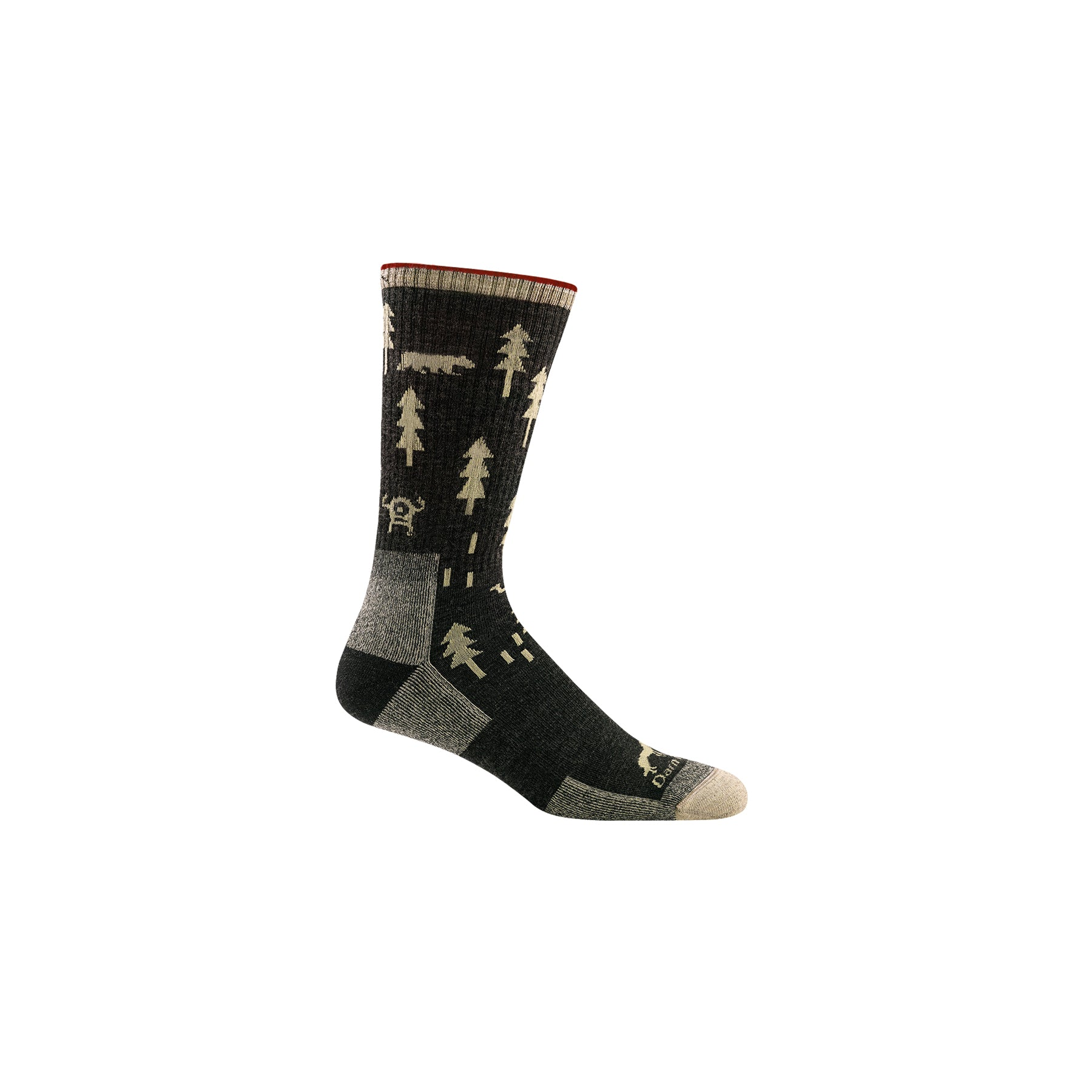 side view of ABC boot sock for men black with tan graphics of aliens, bears and camels