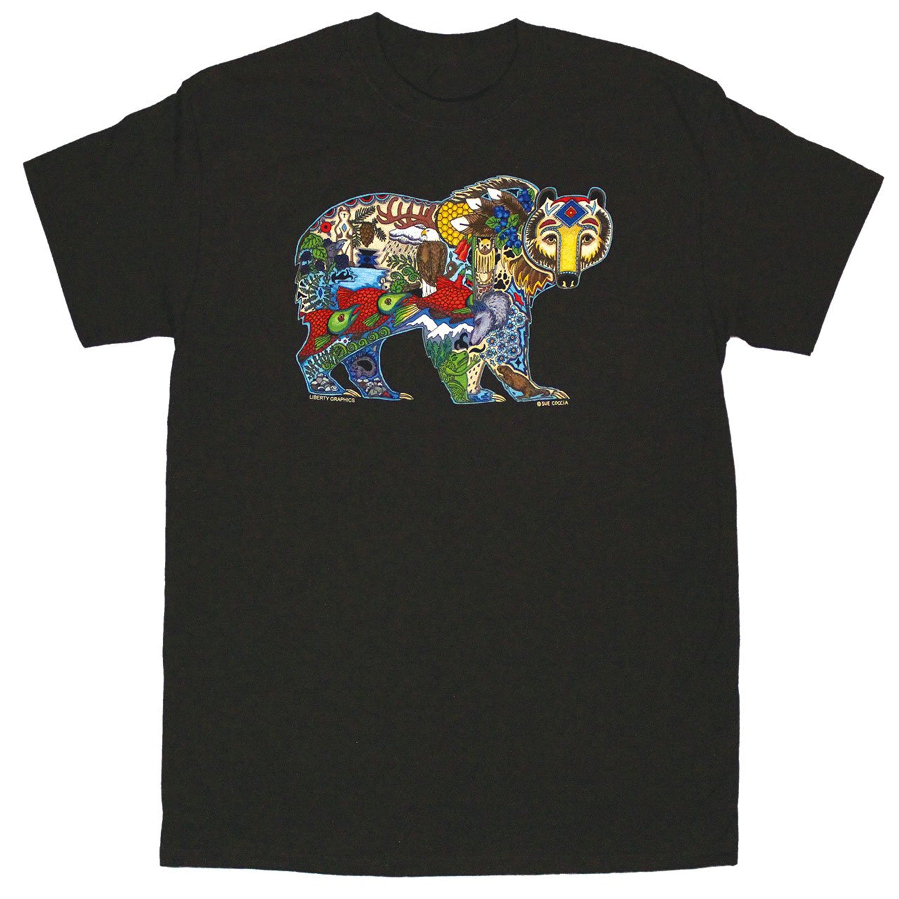 earth art grizzly tee on dark chocolate background