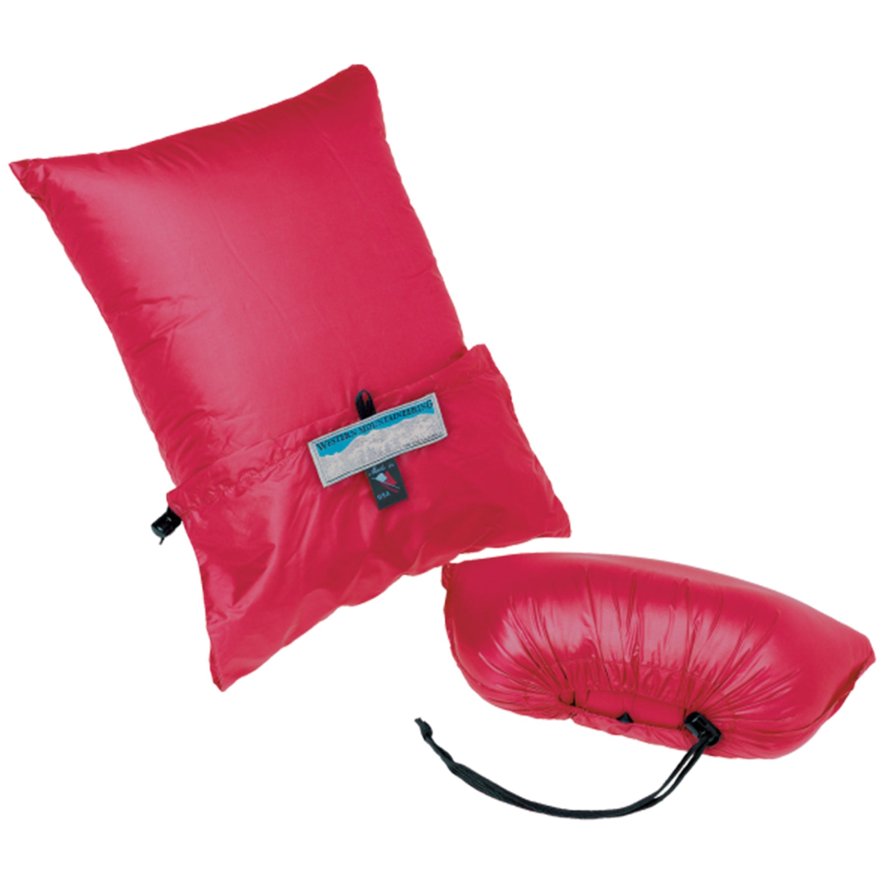 CLOUDREST DOWN PILLOW FULLY EXPANDED AND FULLY STUFFED IN RED
