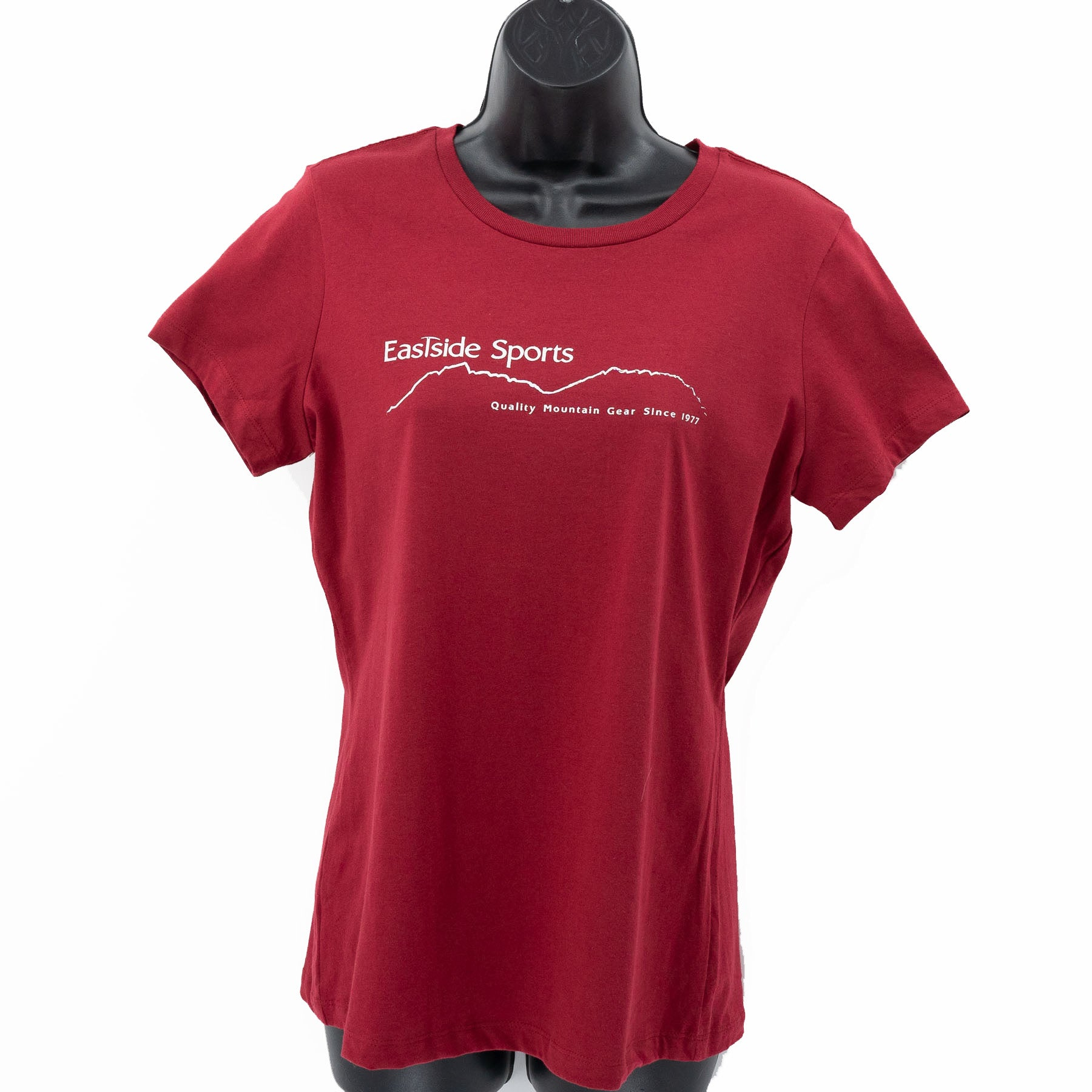 the sangria color of the Eastside Sports logo tee shirt women's