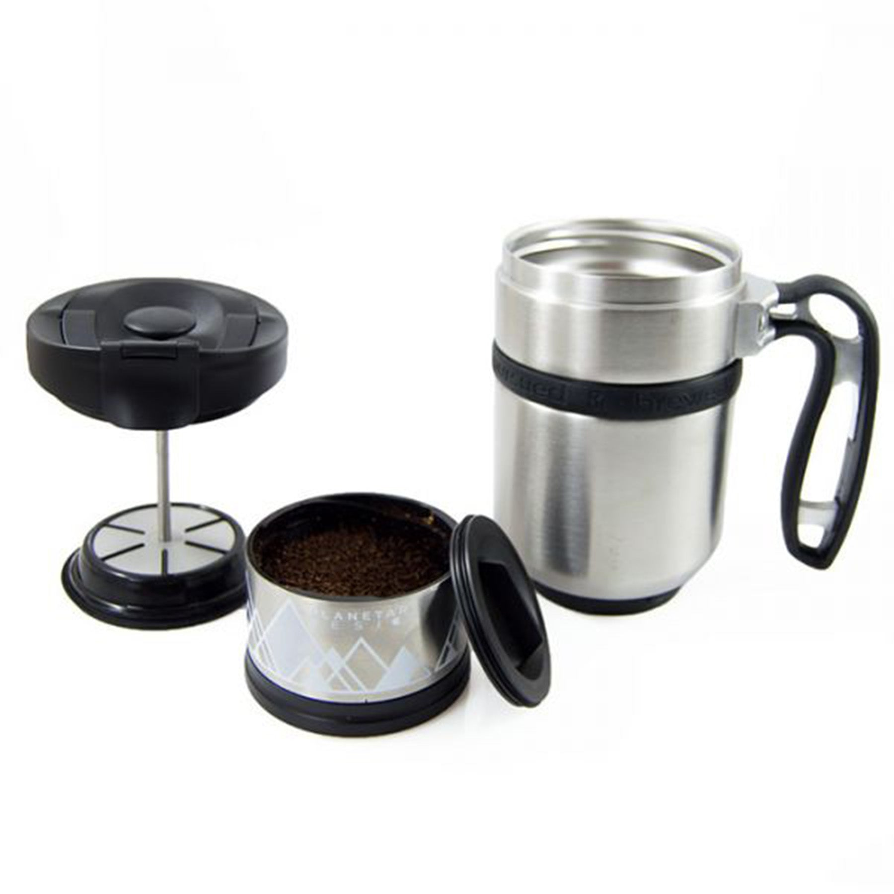 double shot coffee mug shown with the mug and the coffee press component
