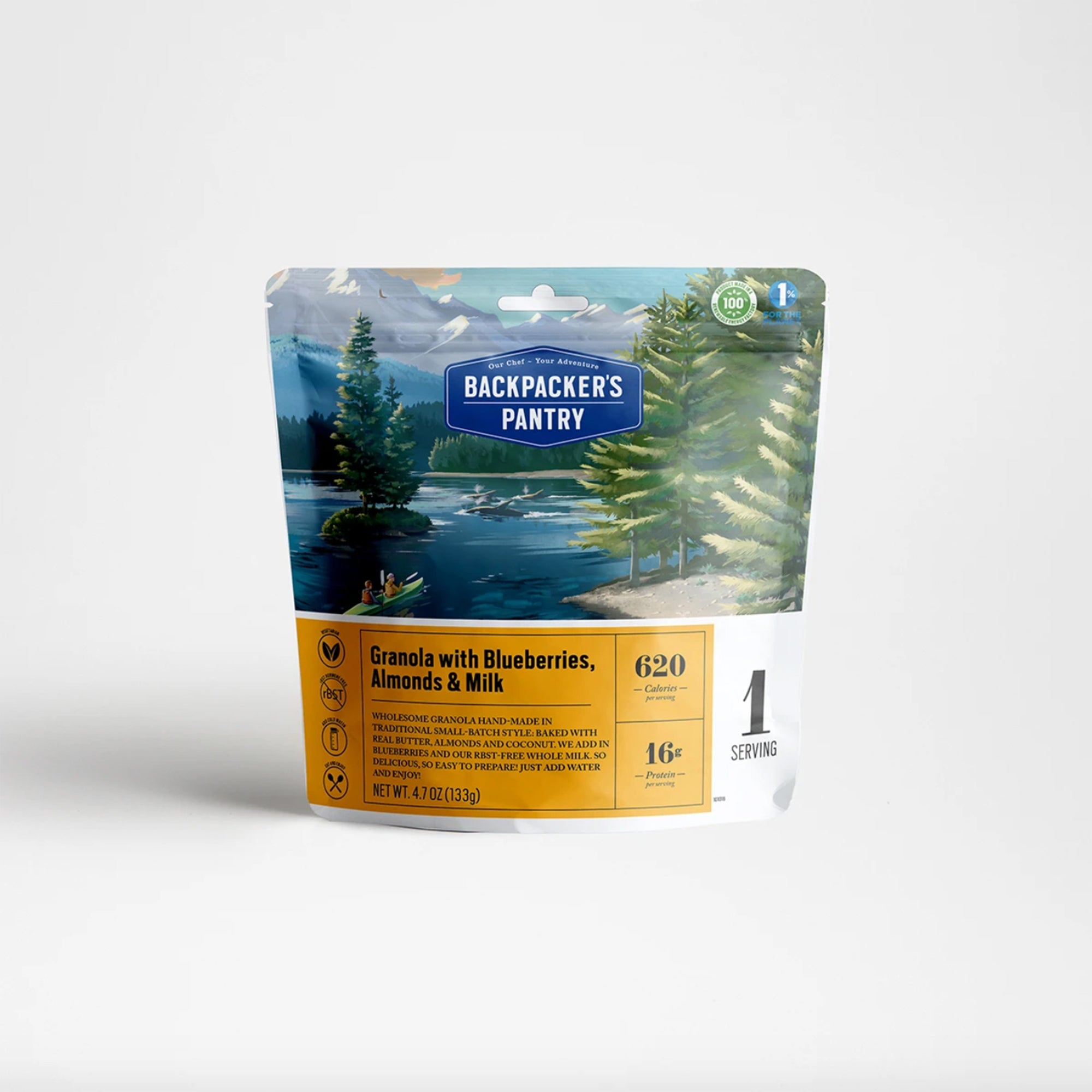 A photo of the front of the package of Backpackers Pantry Granola with Blueberries