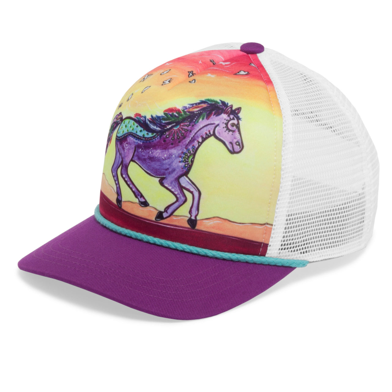 photo of sunday afternoons kids' horse feather cooling trucker hat side view