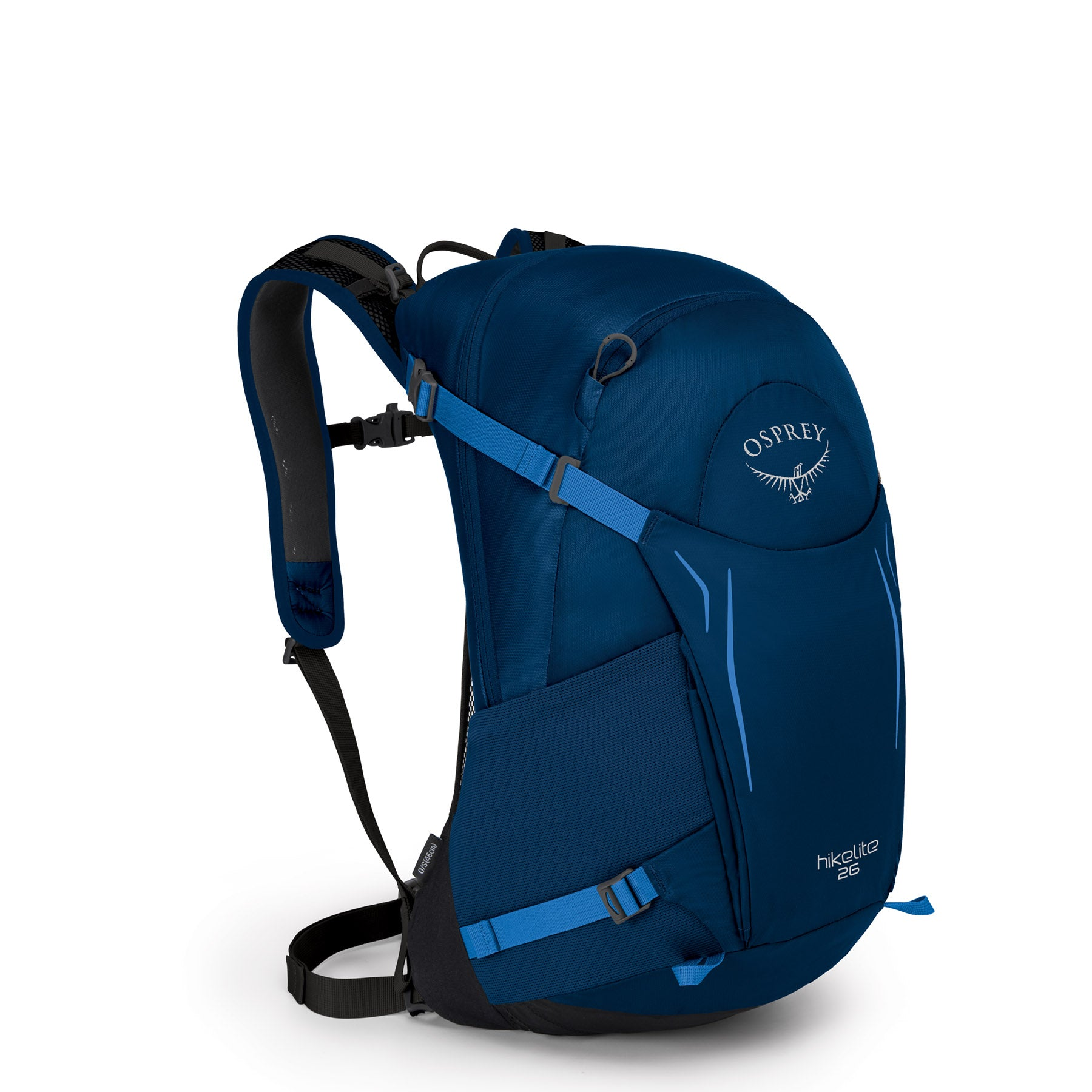 the front view of a blue daypack