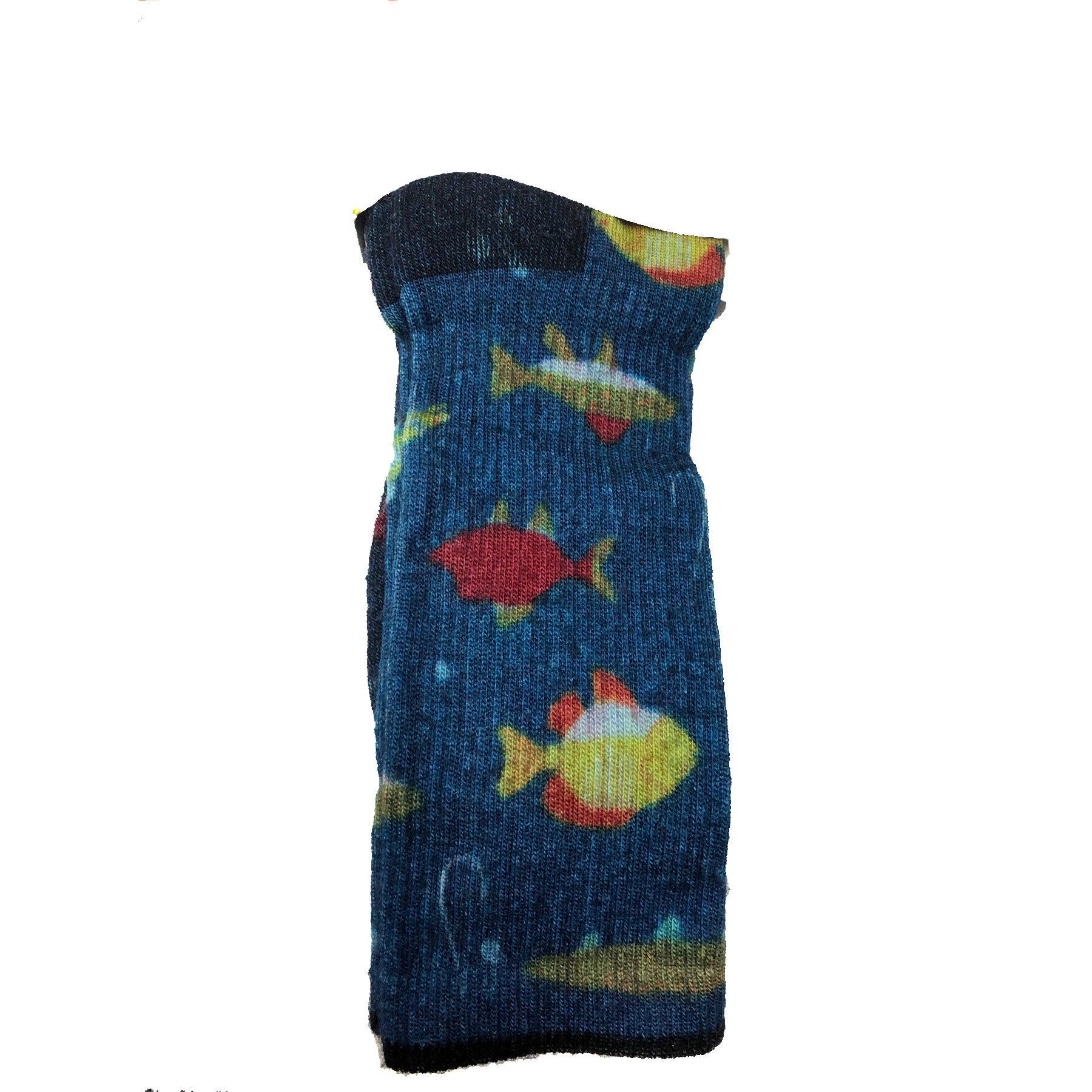 overall dark blue pattern with small yellow and orange fish print