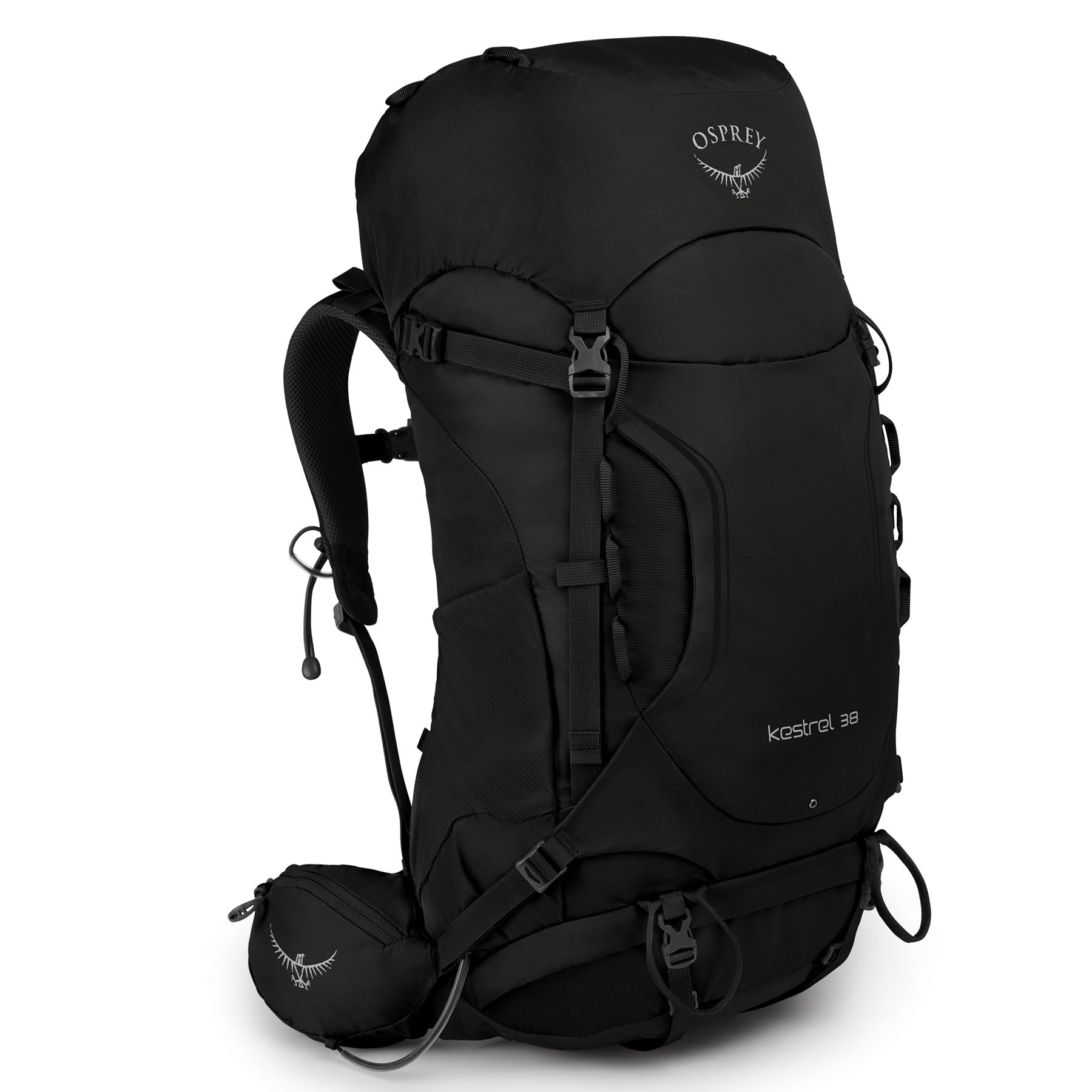 osprey kestrel 38 in black, front view