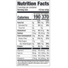 The nutrition label from the super berry and greens package