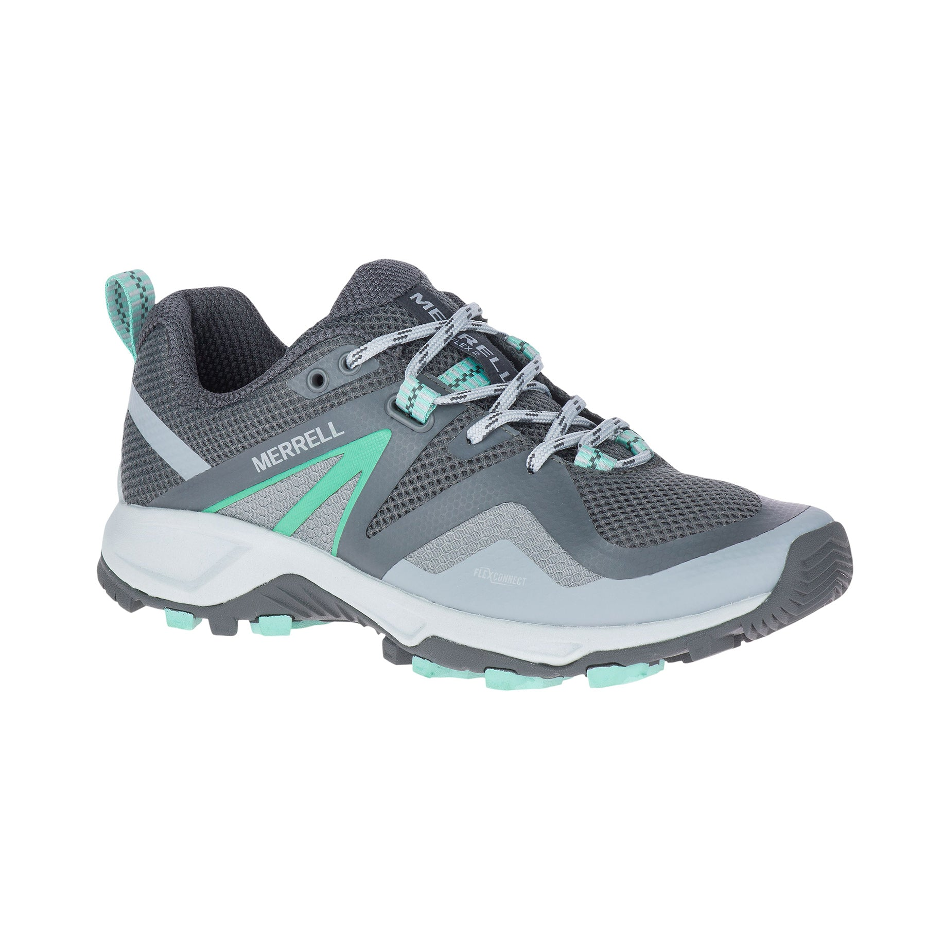 merrell mqm 2 flex womens hiking shoe grey and teal side view