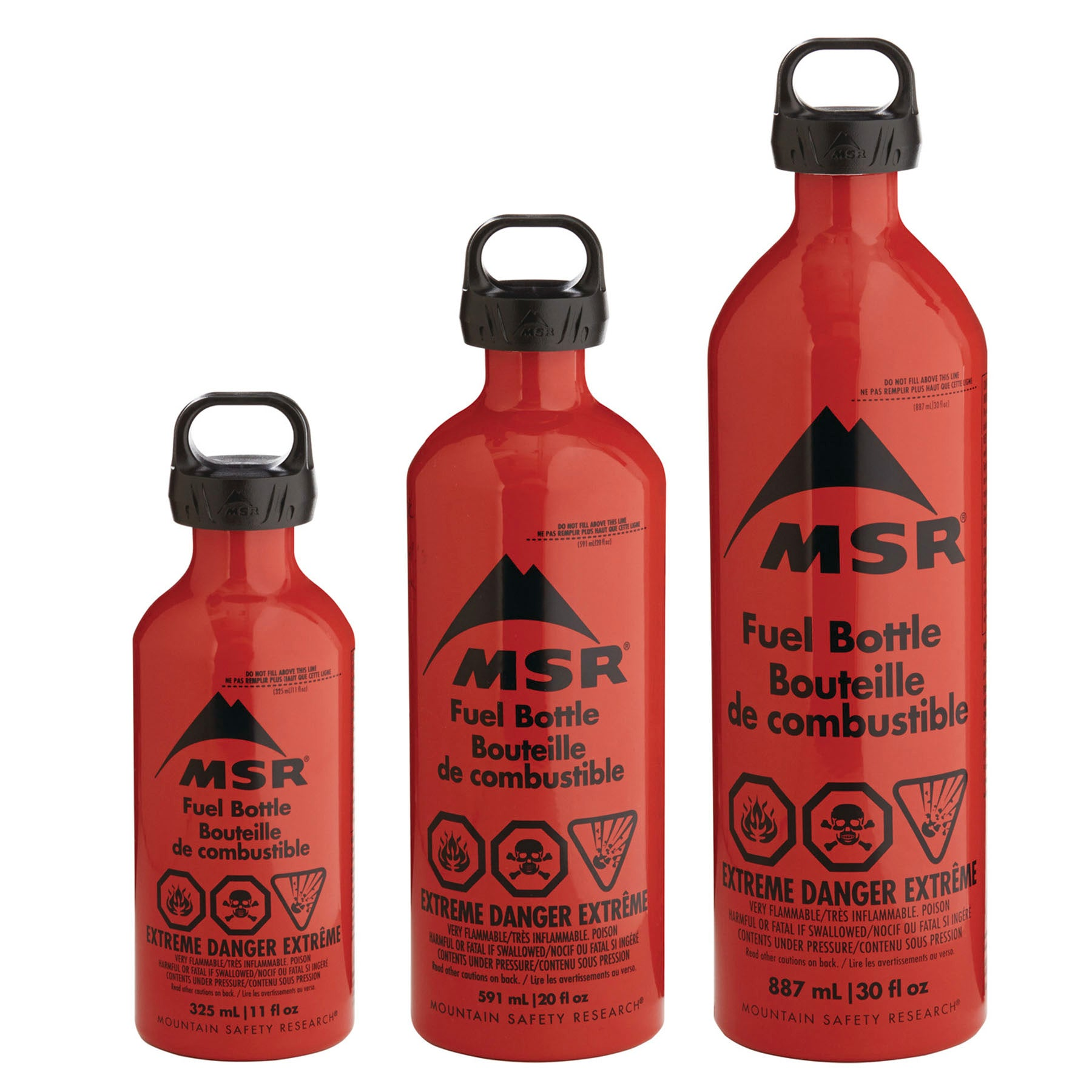 a three sizes of msr fuel bottles