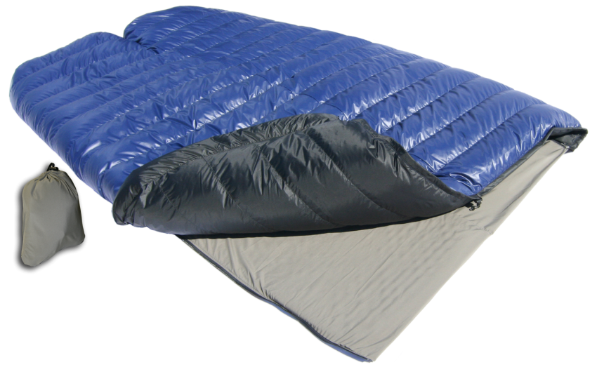 SUMMER COUPLER FROM WESTERN MOUNTAINEERING INSIDE A BLUE SLEEPING BAG.