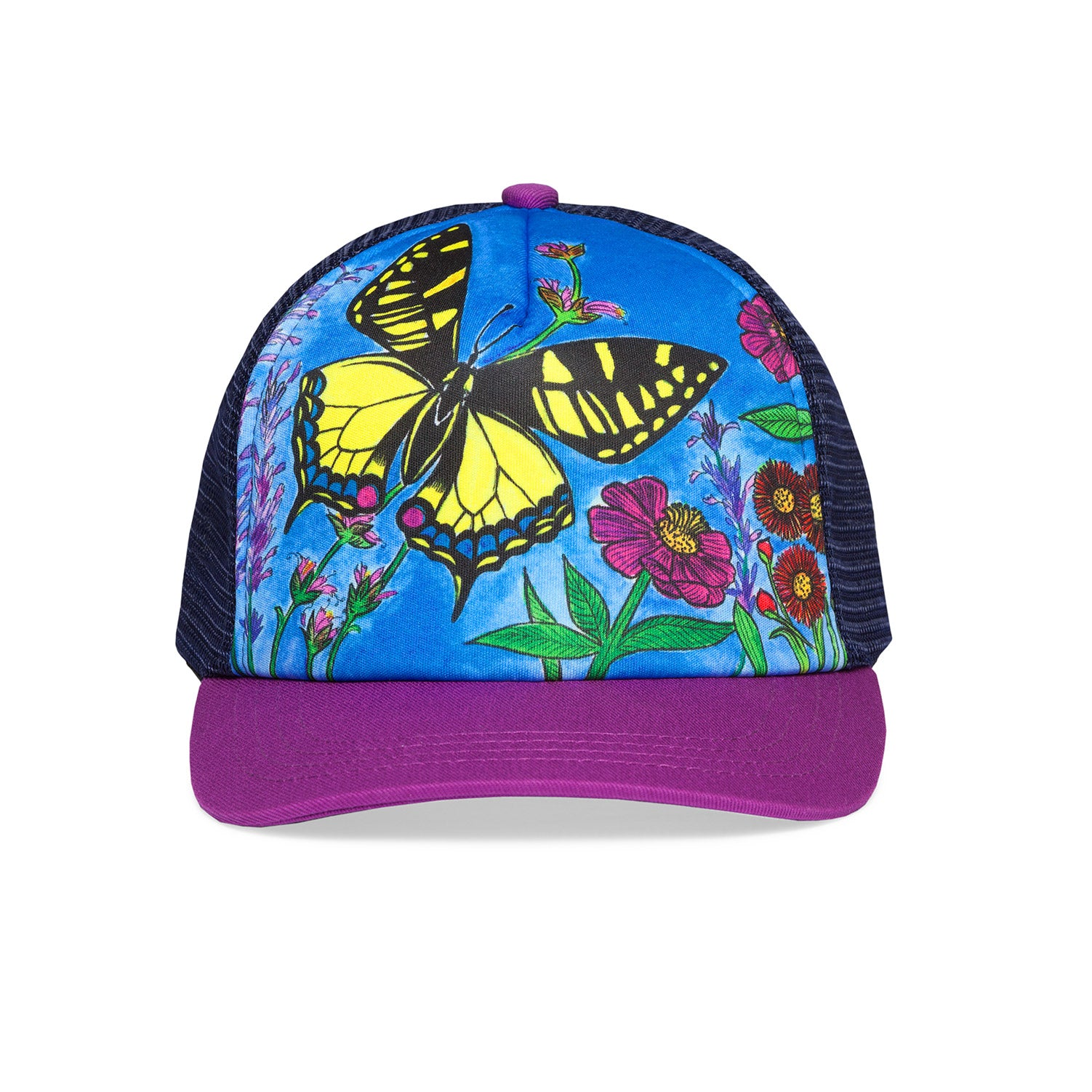 a photo of the sunday afternoons kids butterly trucker hat, front view