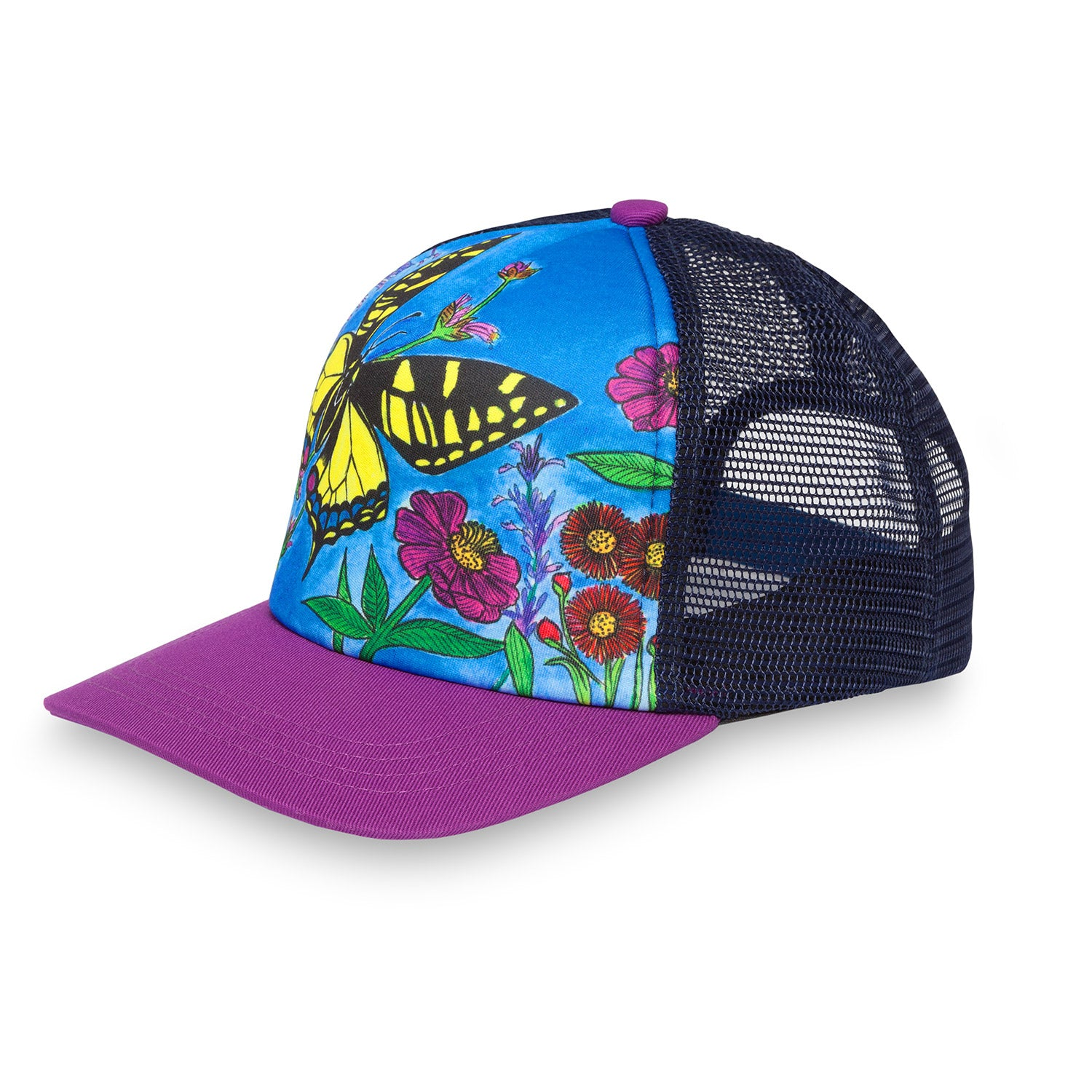 The kid's trucker hat, sideview, with swallowtail butterfly print