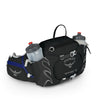 Women's Tempest 6 Pack in Black, Showing front Zippered Pockets and compression straps and Has two 16oz Water bottles