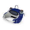 Women's Tempest 6 Pack in Iris Blue, Showing Interior Mesh Hip Belt and Has two 16oz Water bottles