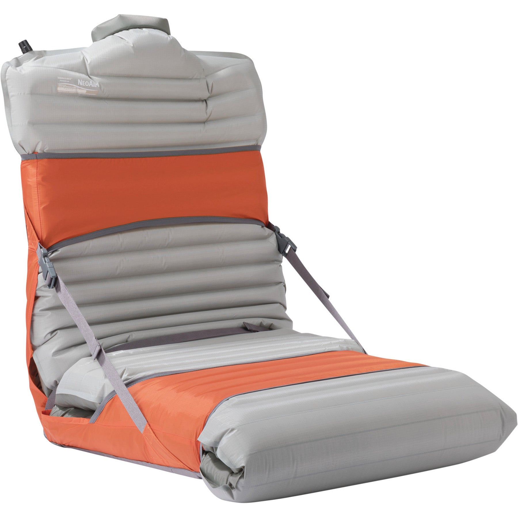 The thermarest trekker chair with a pad installed, ready to sit in