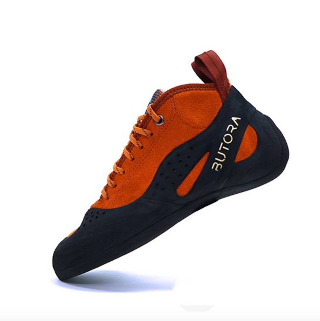 butora altura narrow climbing shoe side view in color orange