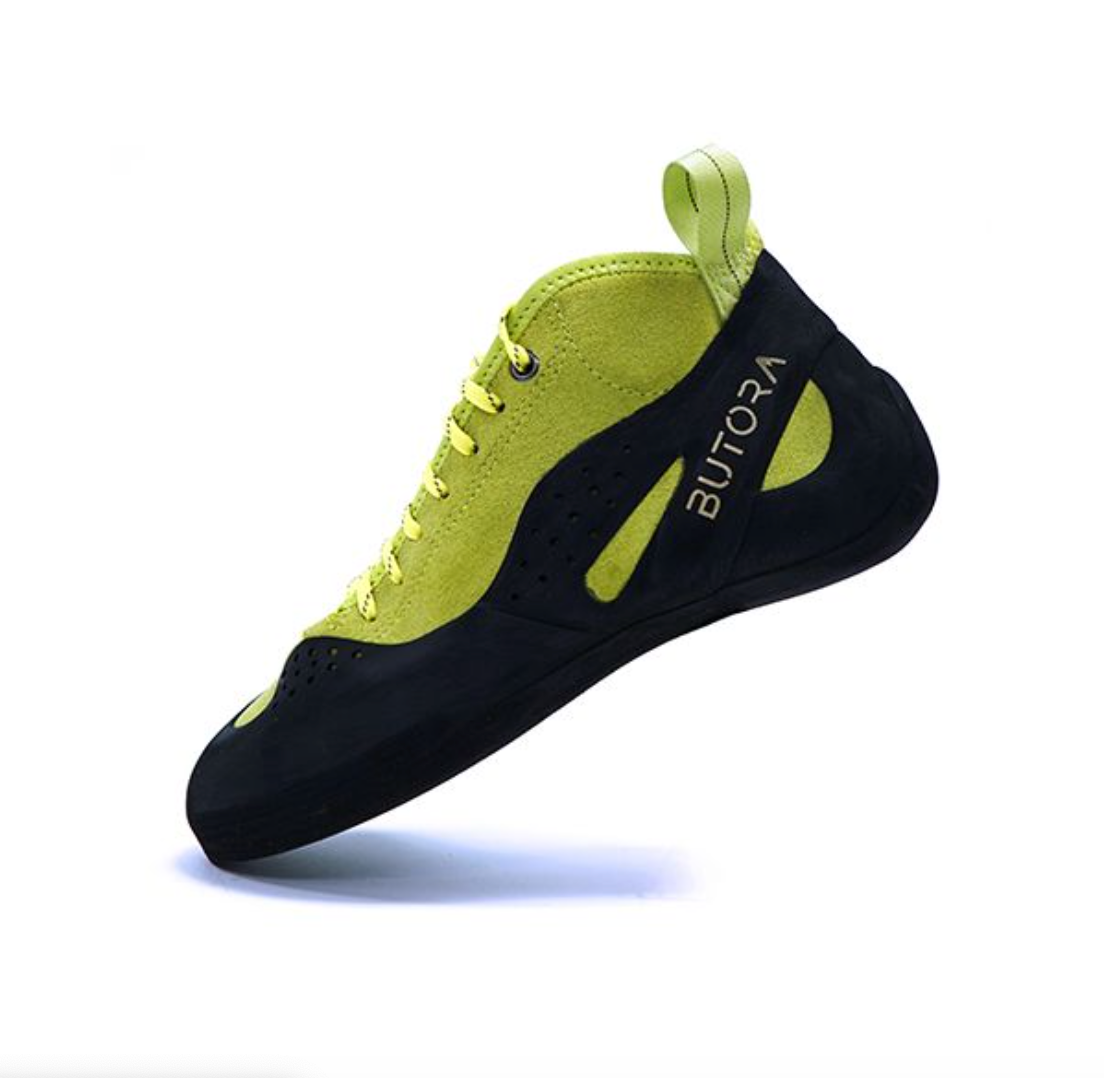 butora altura wide climbing shoe side view in color lime green