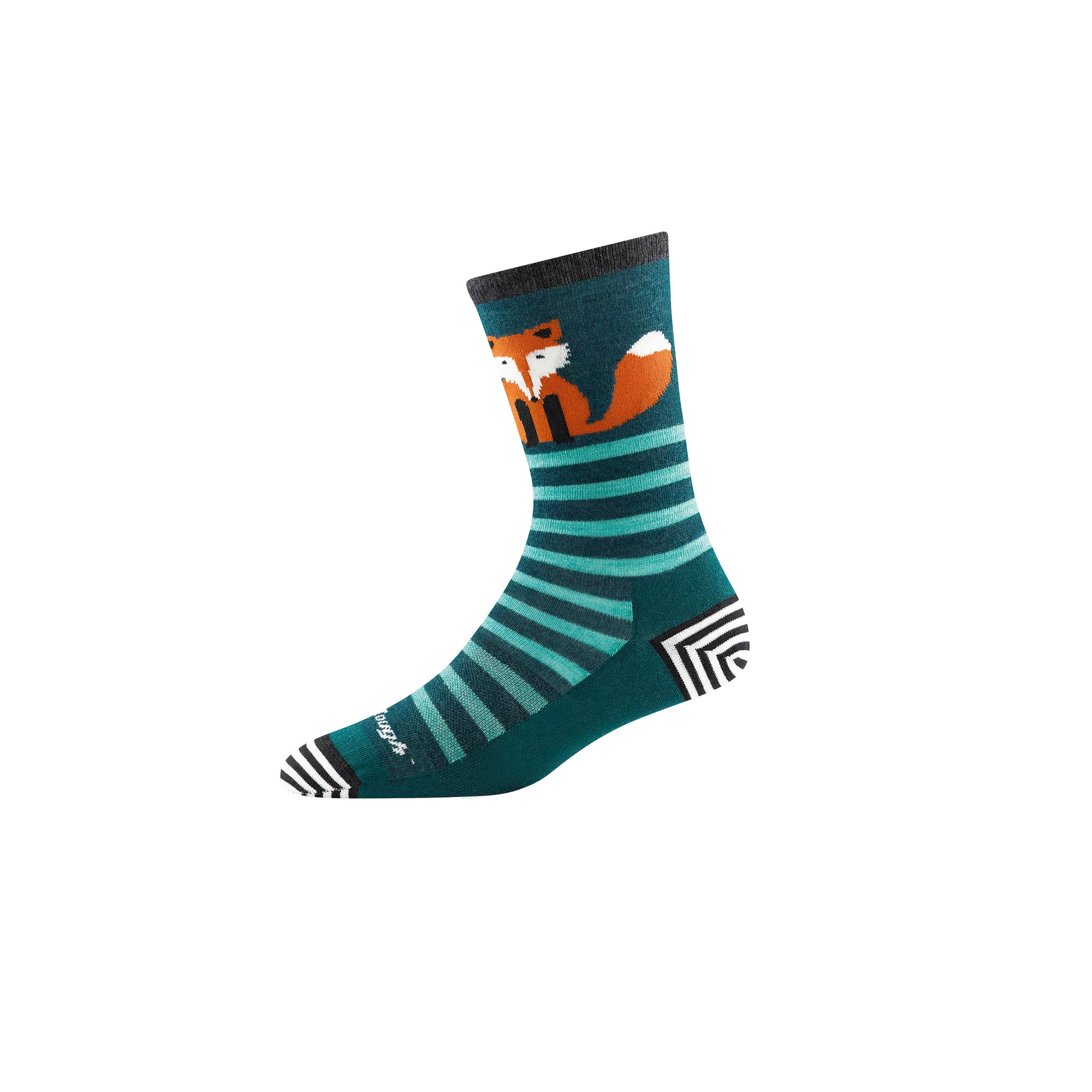 sideview of women's animal haus crew light socks in teal with stripes and fox graphic on ankle