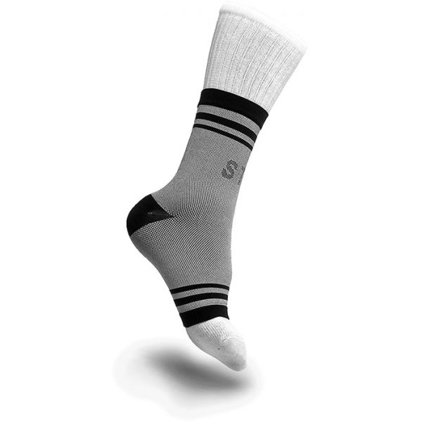 small ankle compression brace on a foot