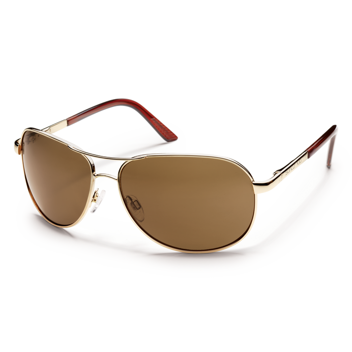 suncloud aviator sunglasses in gold with polarized brown lenses