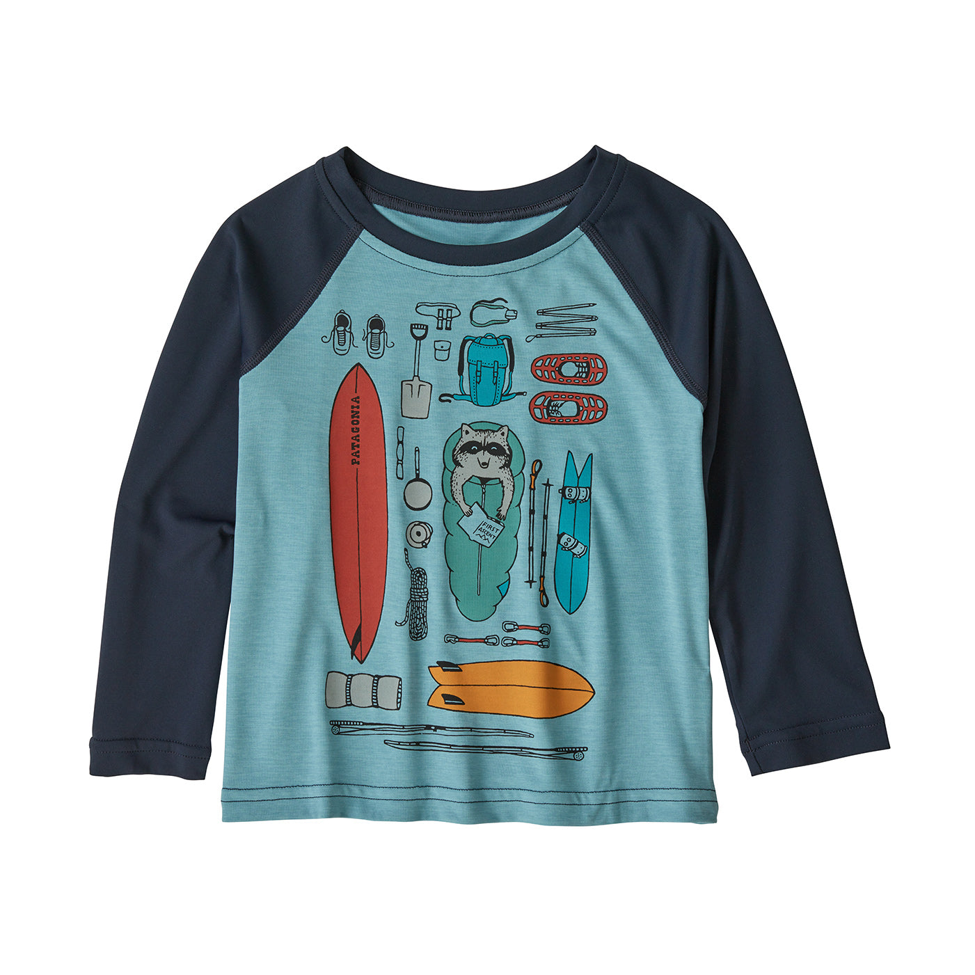 the baby cool daily tee in big sky blue x-dye/bandito kit, front view
