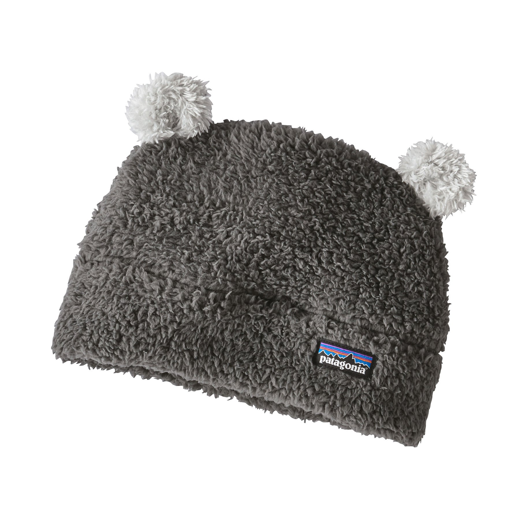 patagonia baby furry friends fleece hat in forge grey  with drifter grey