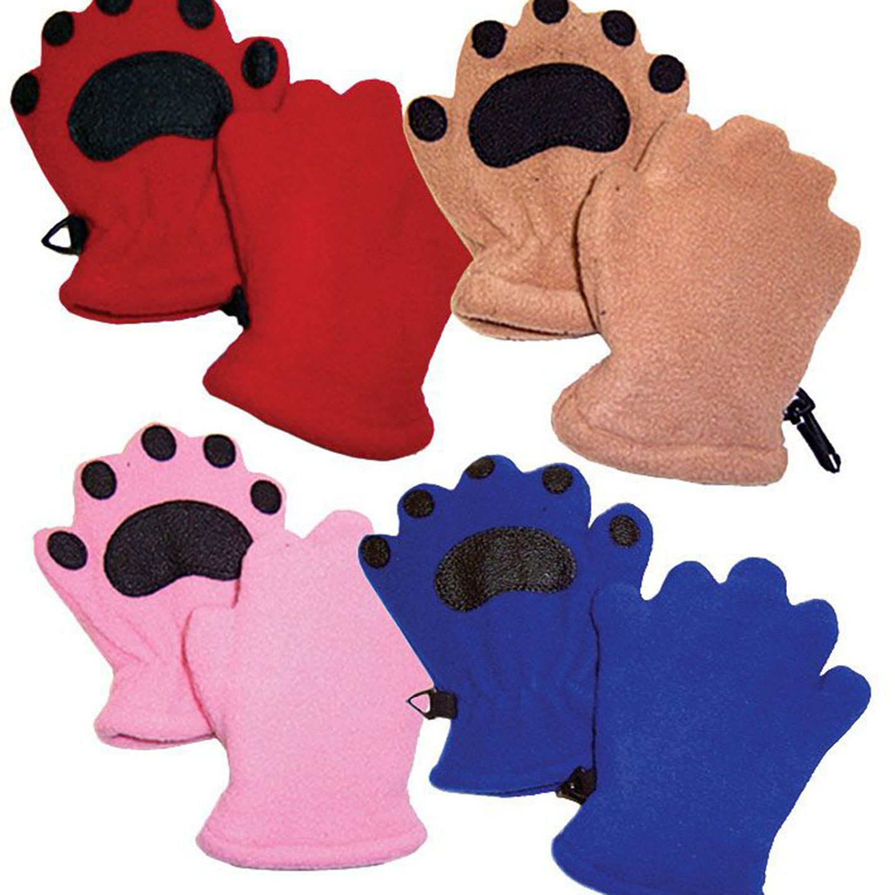 shown are the four colors and styles of the bearhands mittens - red, camel, blue, and pink