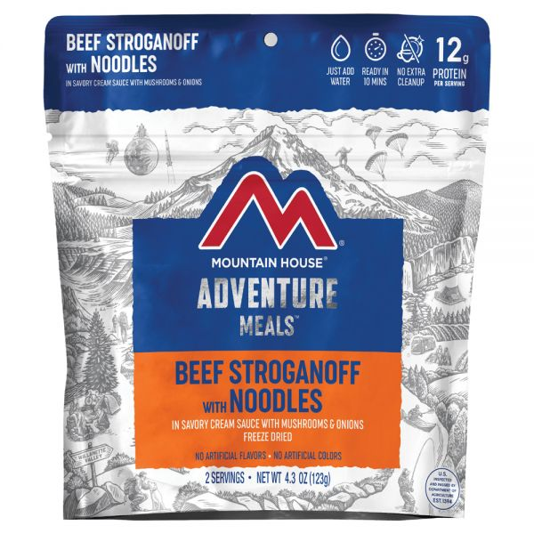 a packet of freeze dried beef stroganoff