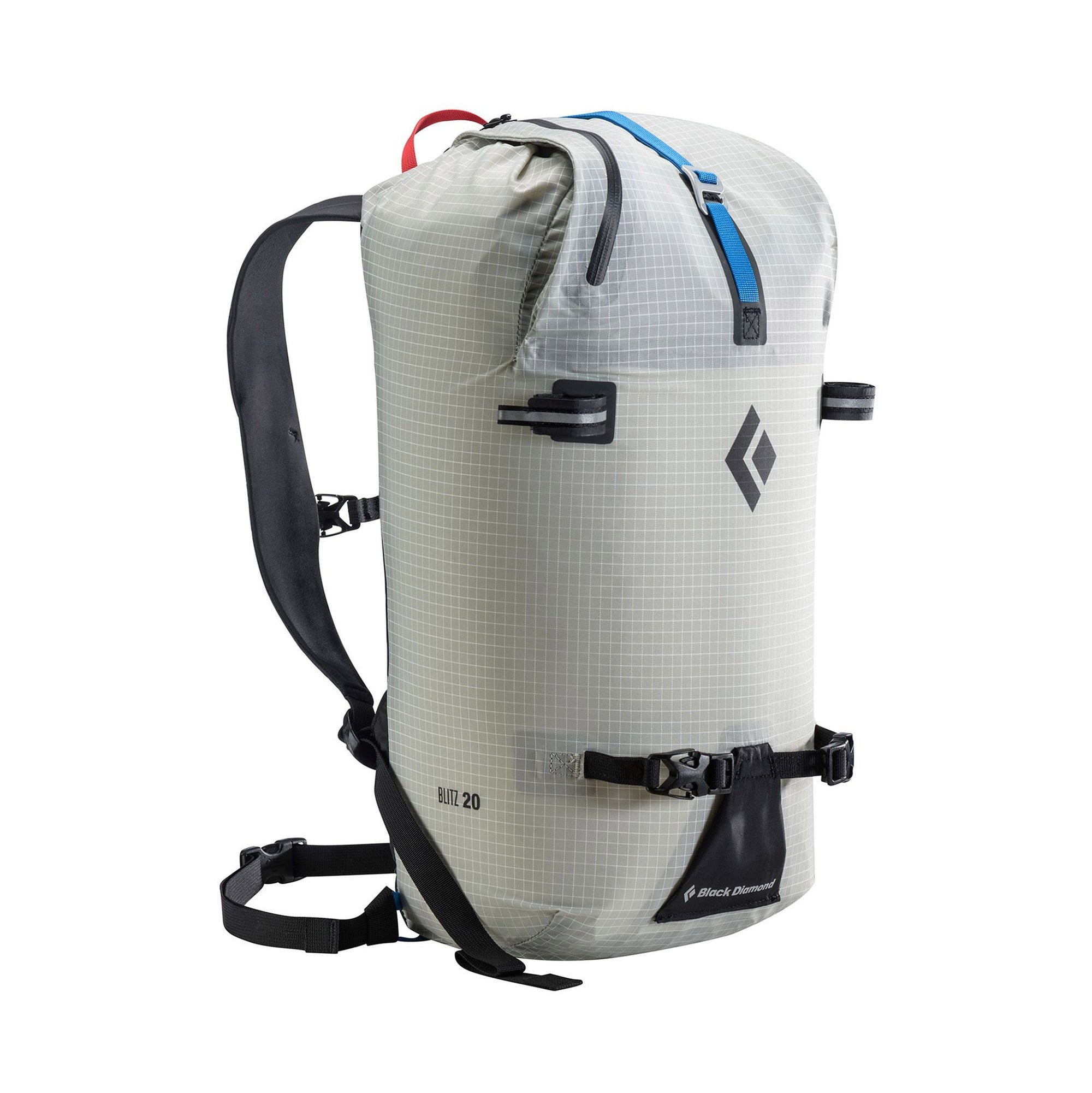blitz pack standing upright, has rope strap, ice tool holders