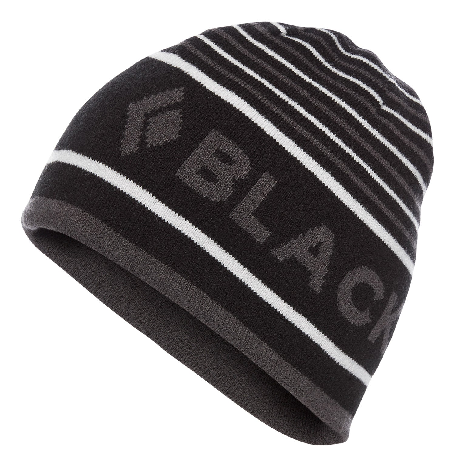 a black diamond brand beanie in black-anthracite-alloy, outside view