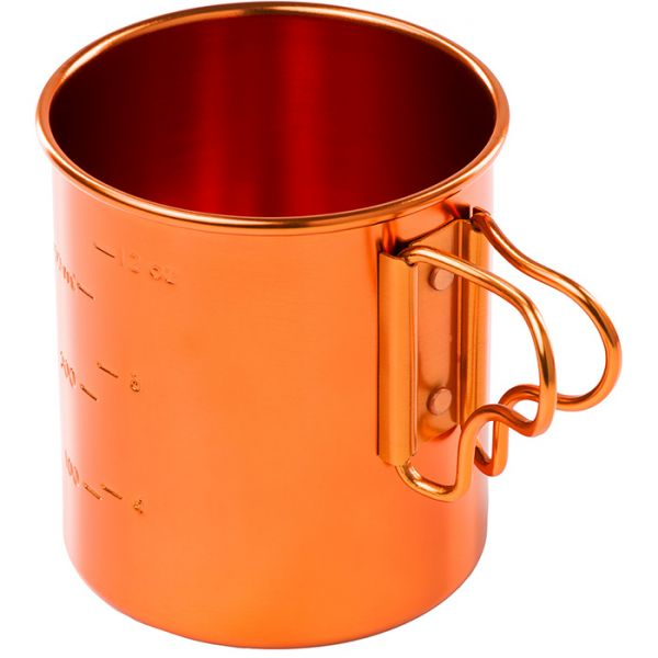 The orange GSI Bugaboo mug, showing the handles and graduations on the side