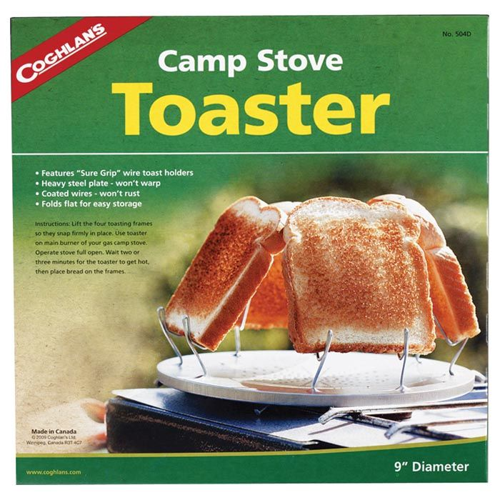 pictured is the box that the toaster comes in, showing toast being toasted on the toaster on a burner