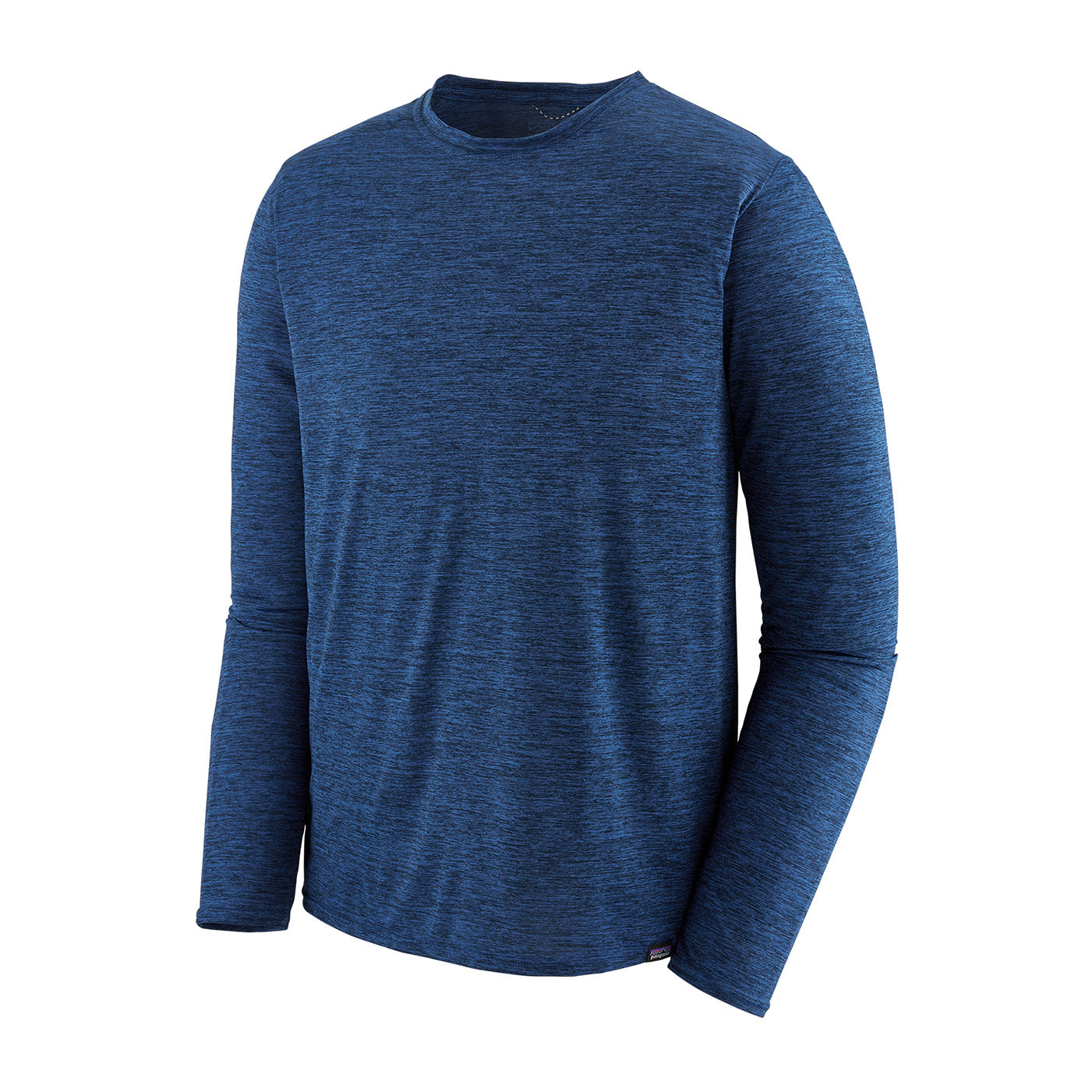 patagonia mens long sleeve capilene cool daily shirt in viking blue navy blue x dye front view