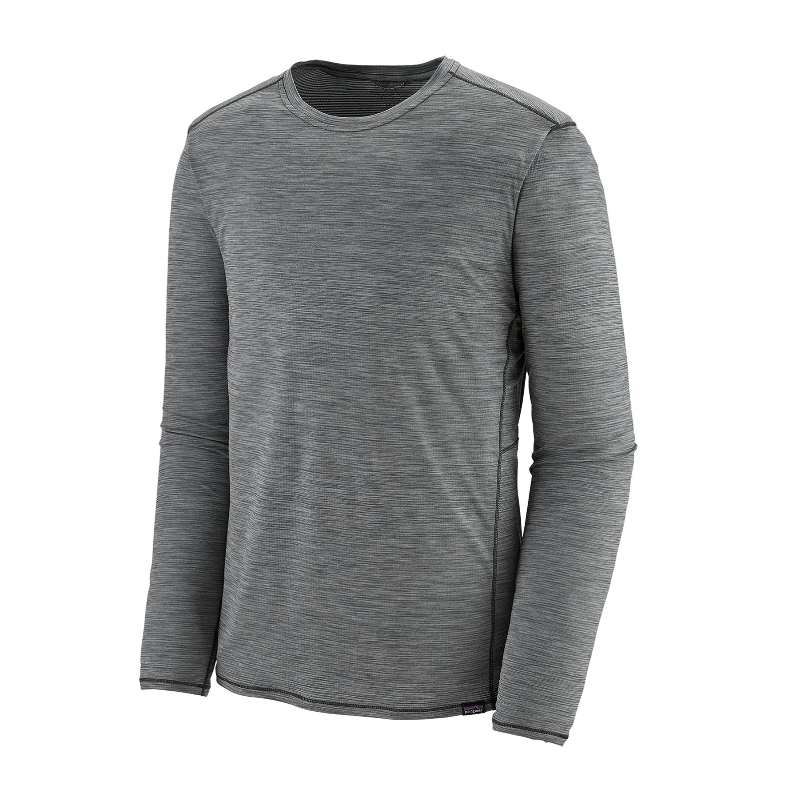 patagonia mens long sleeve capilene cool lightweight shirt in forge grey, front view