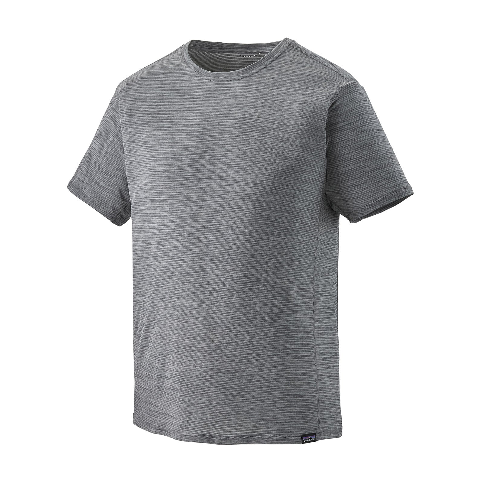 patagonia mens short sleeve capilene cool lightweight shirt in forge grey feather grey x dye, front view
